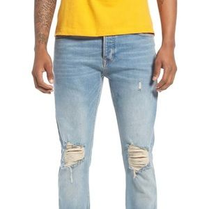 TOPMAN Stretch Distressed Skinny Jeans